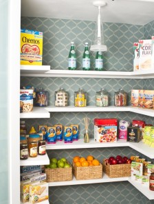 picturesque-agreeable-kitchen-pantry-designs-modern-style-feats-white-shelving-designs-made-by-wooden-and-unique-pendant-light-fruit-baskets-jars-snack-cereals-gray-wallpaper-feats-pattern-decorating